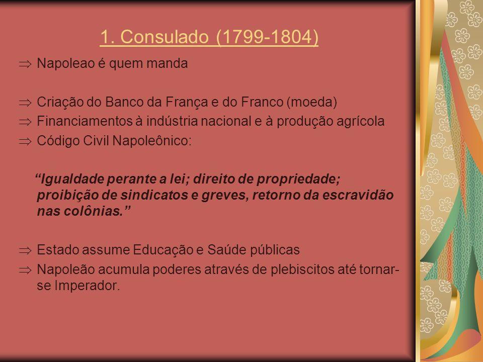 1. Consulado (1799-1804) Napoleao é quem manda Criação do Banco da França e do Franco (moeda) Financiamentos à indústria nacional e à produção agrícol