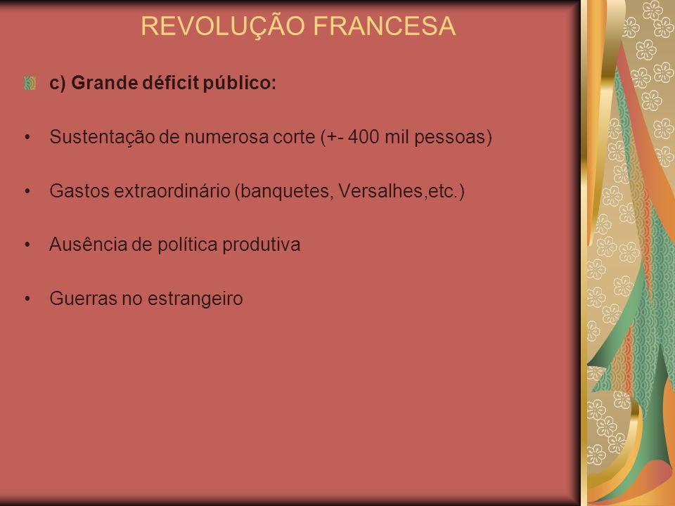 REVOLUÇÃO FRANCESA c) Grande déficit público: Sustentação de numerosa corte (+- 400 mil pessoas) Gastos extraordinário (banquetes, Versalhes,etc.) Aus