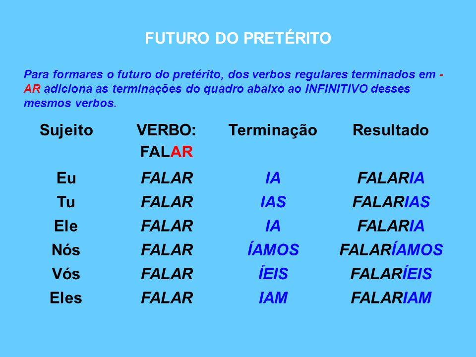 Para formares o futuro do pretérito, dos verbos regulares terminados em - AR adiciona as terminações do quadro abaixo ao INFINITIVO desses mesmos verb