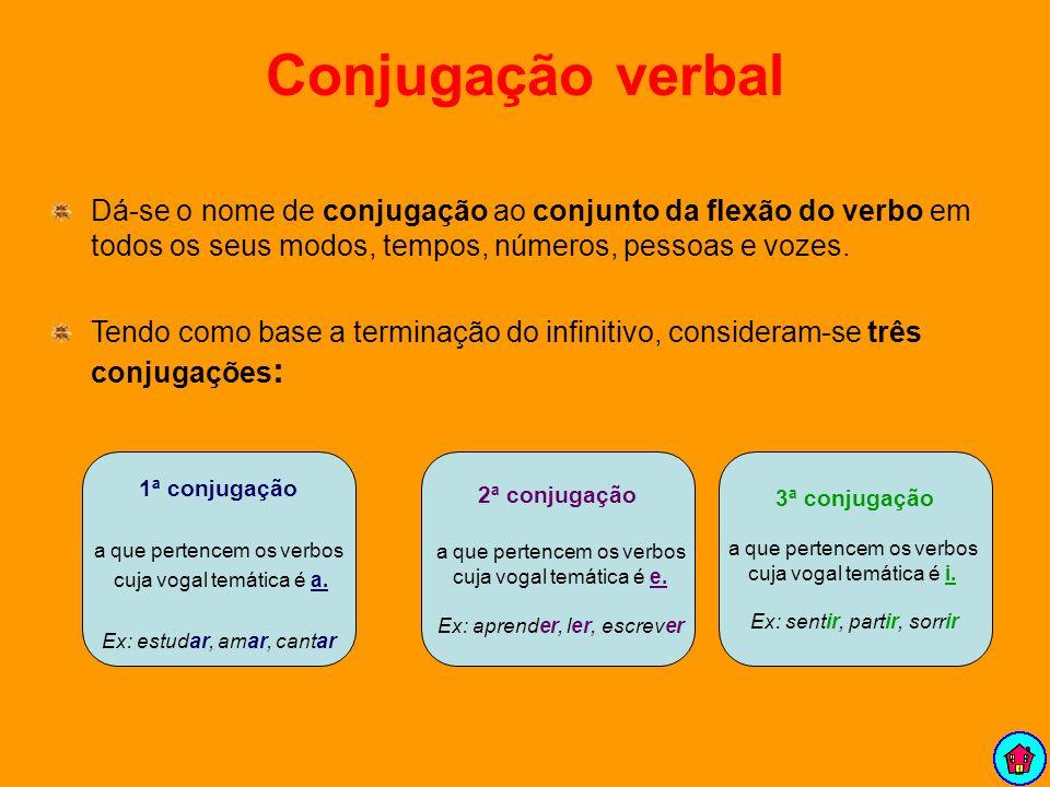 Conjugação verbal Dá-se o nome de conjugação ao conjunto da flexão do verbo em todos os seus modos, tempos, números, pessoas e vozes. Tendo como base