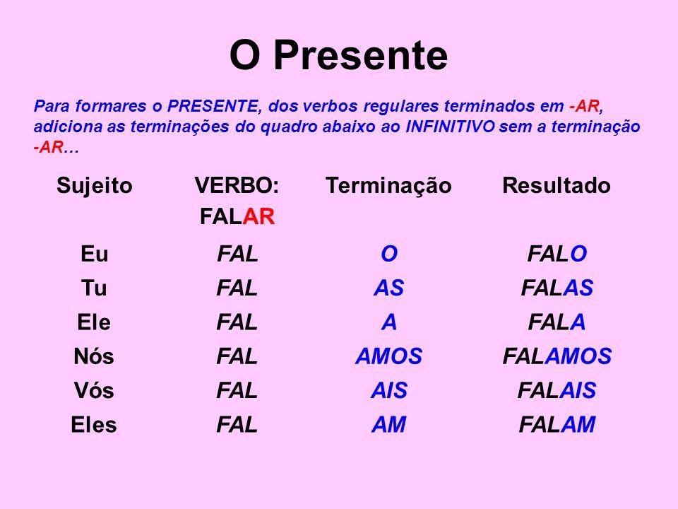 O Presente Para formares o PRESENTE, dos verbos regulares terminados em -AR, adiciona as terminações do quadro abaixo ao INFINITIVO sem a terminação -
