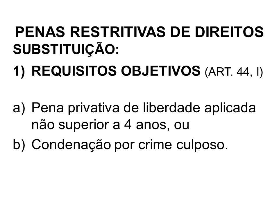 SUBSTITUIÇÃO: 1)REQUISITOS OBJETIVOS (ART. 44, I) a)Pena privativa de liberdade aplicada não superior a 4 anos, ou b)Condenação por crime culposo. PEN