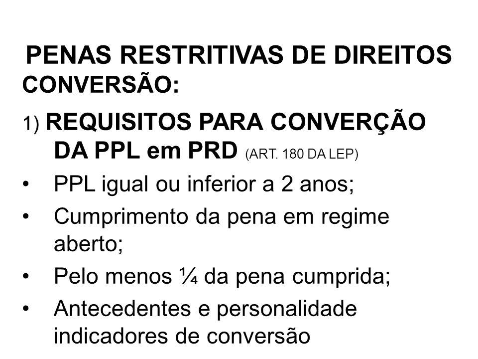 CONVERSÃO: PENAS RESTRITIVAS DE DIREITOS 1) REQUISITOS PARA CONVERÇÃO DA PPL em PRD (ART. 180 DA LEP) PPL igual ou inferior a 2 anos; Cumprimento da p