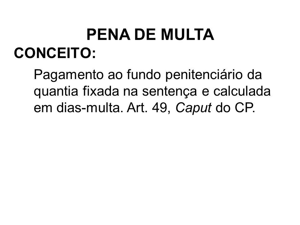 CONCEITO: Pagamento ao fundo penitenciário da quantia fixada na sentença e calculada em dias-multa. Art. 49, Caput do CP. PENA DE MULTA