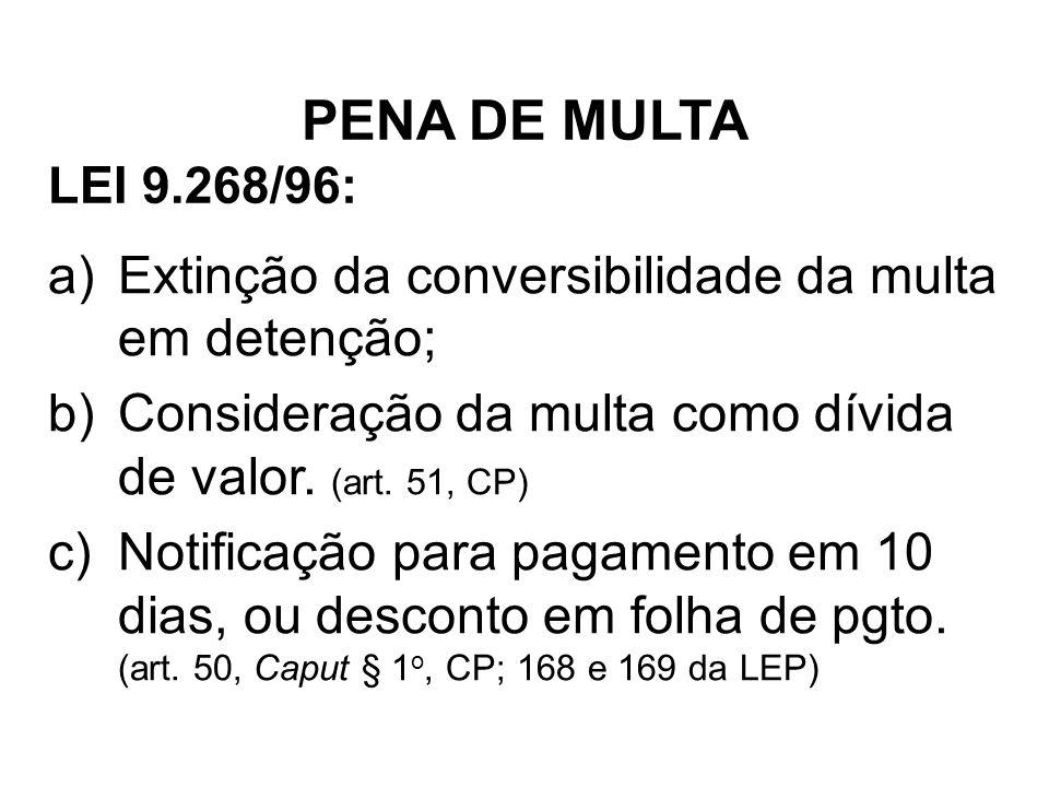 LEI 9.268/96: a)Extinção da conversibilidade da multa em detenção; b)Consideração da multa como dívida de valor. (art. 51, CP) c)Notificação para paga