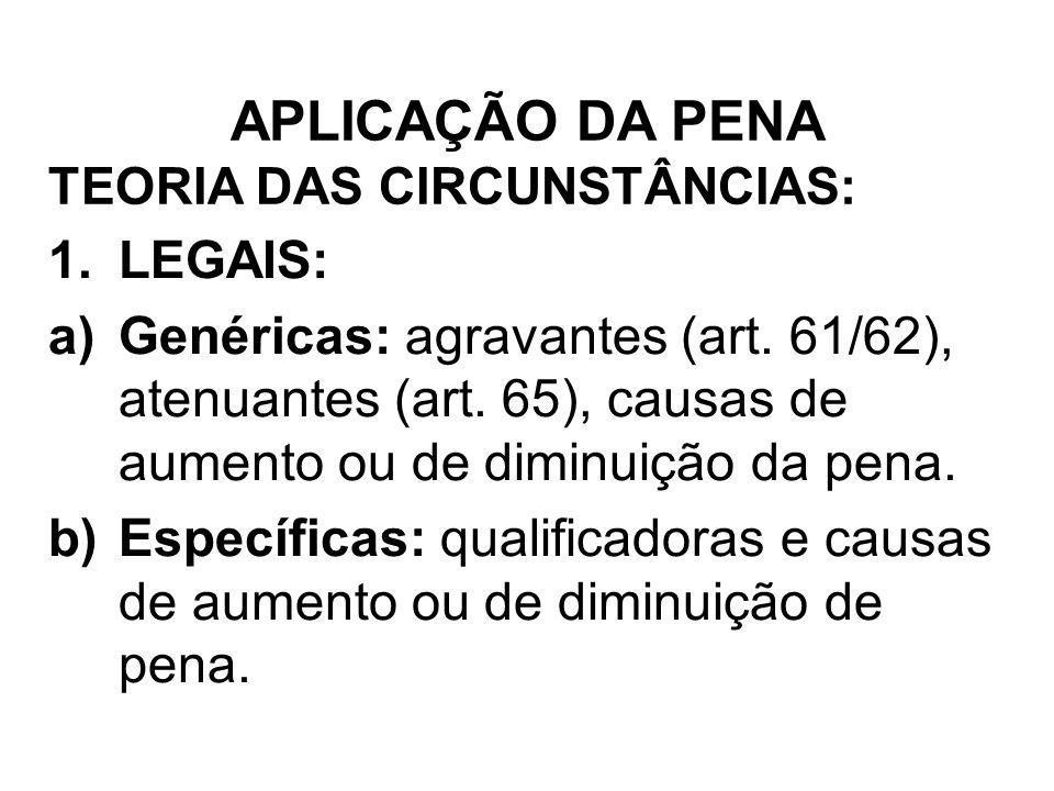 TEORIA DAS CIRCUNSTÂNCIAS: 1.LEGAIS: a)Genéricas: agravantes (art. 61/62), atenuantes (art. 65), causas de aumento ou de diminuição da pena. b)Específ
