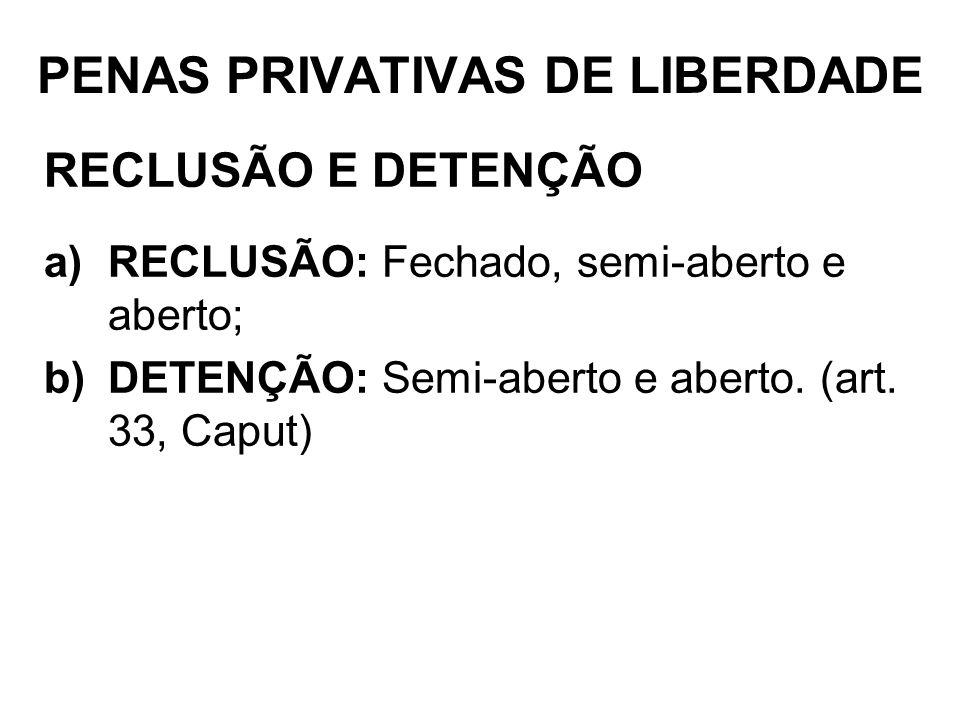 PENAS PRIVATIVAS DE LIBERDADE RECLUSÃO E DETENÇÃO a)RECLUSÃO: Fechado, semi-aberto e aberto; b)DETENÇÃO: Semi-aberto e aberto. (art. 33, Caput)