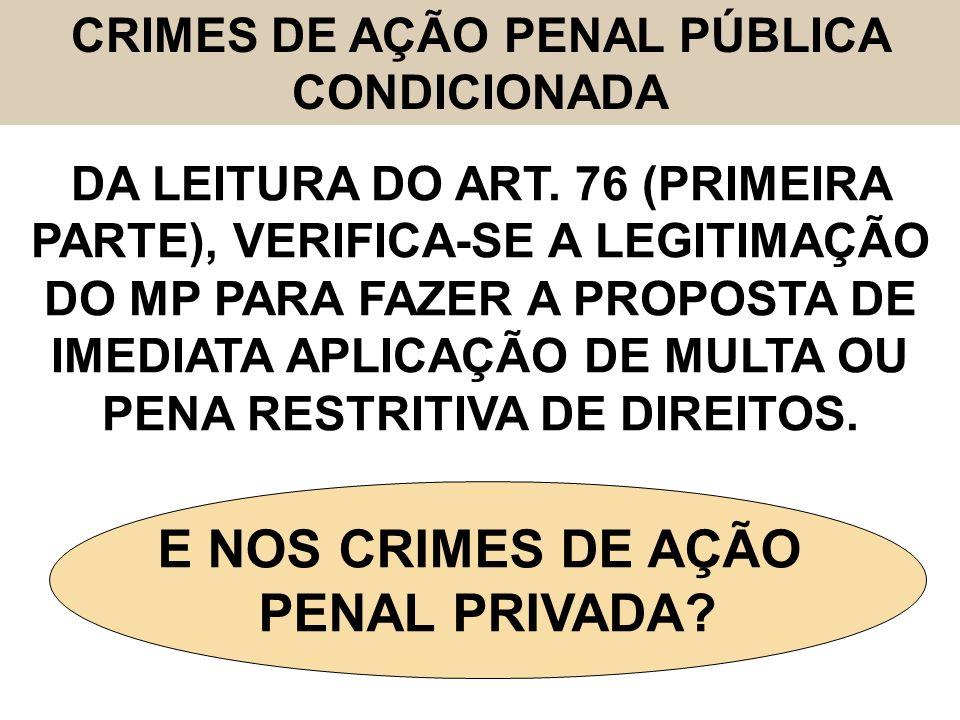 CRIMES DE AÇÃO PENAL PÚBLICA CONDICIONADA DA LEITURA DO ART. 76 (PRIMEIRA PARTE), VERIFICA-SE A LEGITIMAÇÃO DO MP PARA FAZER A PROPOSTA DE IMEDIATA AP