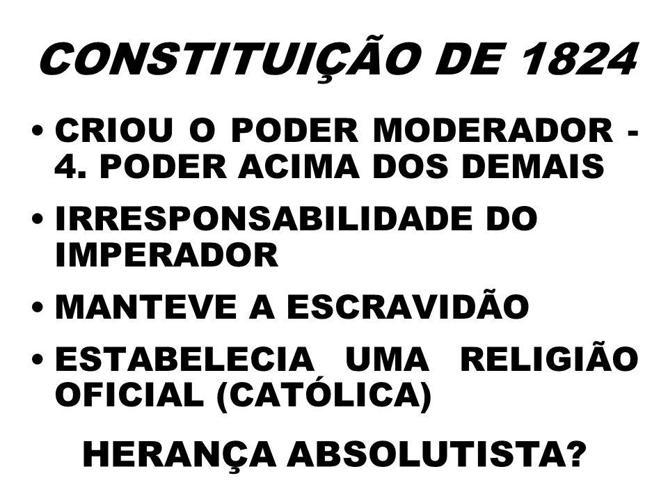 CRIOU O PODER MODERADOR - 4. PODER ACIMA DOS DEMAIS IRRESPONSABILIDADE DO IMPERADOR MANTEVE A ESCRAVIDÃO ESTABELECIA UMA RELIGIÃO OFICIAL (CATÓLICA) H