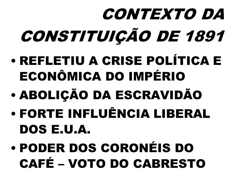 CONTEXTO DA CONSTITUIÇÃO DE 1891 REFLETIU A CRISE POLÍTICA E ECONÔMICA DO IMPÉRIO ABOLIÇÃO DA ESCRAVIDÃO FORTE INFLUÊNCIA LIBERAL DOS E.U.A. PODER DOS