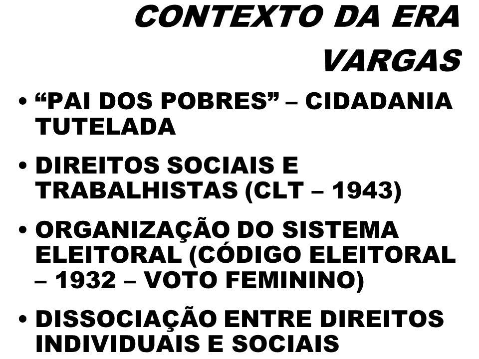 CONTEXTO DA ERA VARGAS PAI DOS POBRES – CIDADANIA TUTELADA DIREITOS SOCIAIS E TRABALHISTAS (CLT – 1943) ORGANIZAÇÃO DO SISTEMA ELEITORAL (CÓDIGO ELEIT