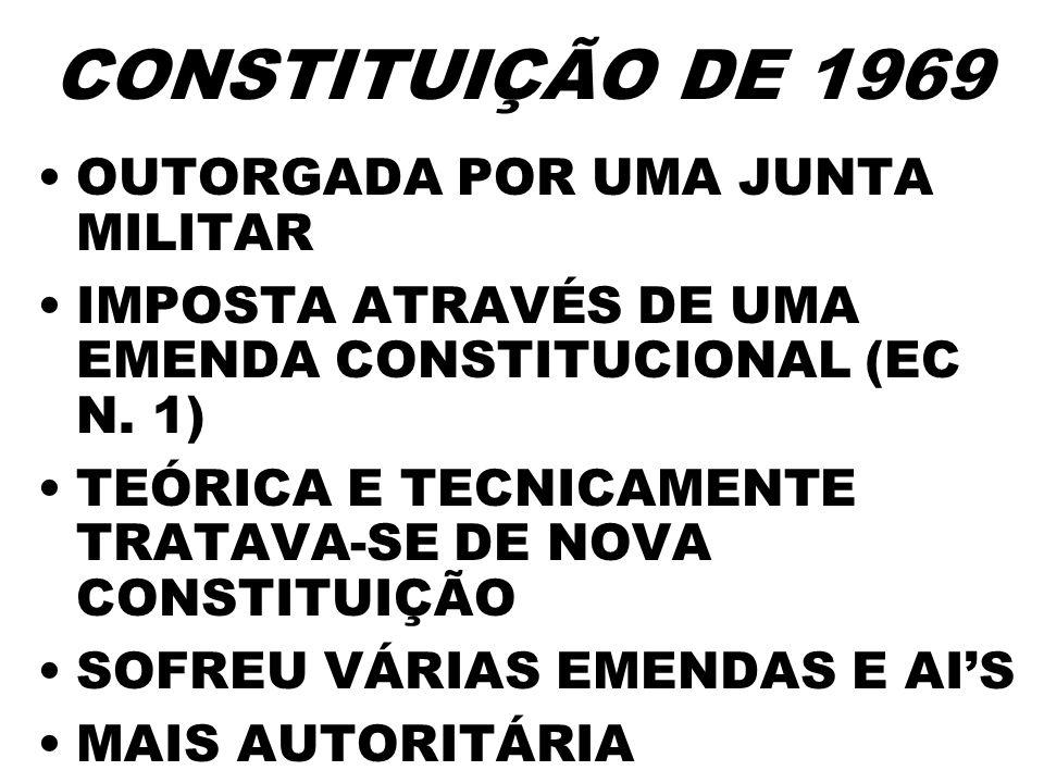 CONSTITUIÇÃO DE 1969 OUTORGADA POR UMA JUNTA MILITAR IMPOSTA ATRAVÉS DE UMA EMENDA CONSTITUCIONAL (EC N. 1) TEÓRICA E TECNICAMENTE TRATAVA-SE DE NOVA