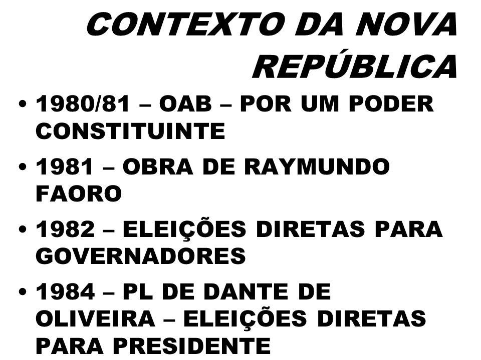 CONTEXTO DA NOVA REPÚBLICA 1980/81 – OAB – POR UM PODER CONSTITUINTE 1981 – OBRA DE RAYMUNDO FAORO 1982 – ELEIÇÕES DIRETAS PARA GOVERNADORES 1984 – PL