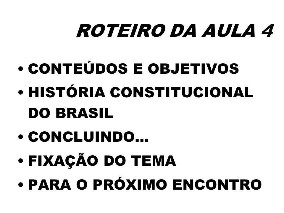 ROTEIRO DA AULA 4 CONTEÚDOS E OBJETIVOS HISTÓRIA CONSTITUCIONAL DO BRASIL CONCLUINDO... FIXAÇÃO DO TEMA PARA O PRÓXIMO ENCONTRO
