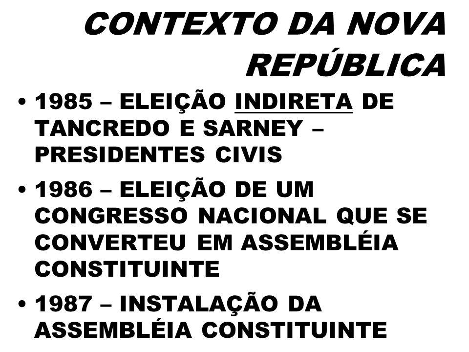 CONTEXTO DA NOVA REPÚBLICA 1985 – ELEIÇÃO INDIRETA DE TANCREDO E SARNEY – PRESIDENTES CIVIS 1986 – ELEIÇÃO DE UM CONGRESSO NACIONAL QUE SE CONVERTEU E
