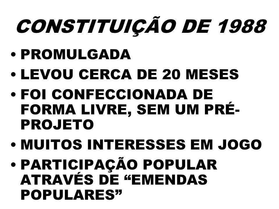 CONSTITUIÇÃO DE 1988 PROMULGADA LEVOU CERCA DE 20 MESES FOI CONFECCIONADA DE FORMA LIVRE, SEM UM PRÉ- PROJETO MUITOS INTERESSES EM JOGO PARTICIPAÇÃO P