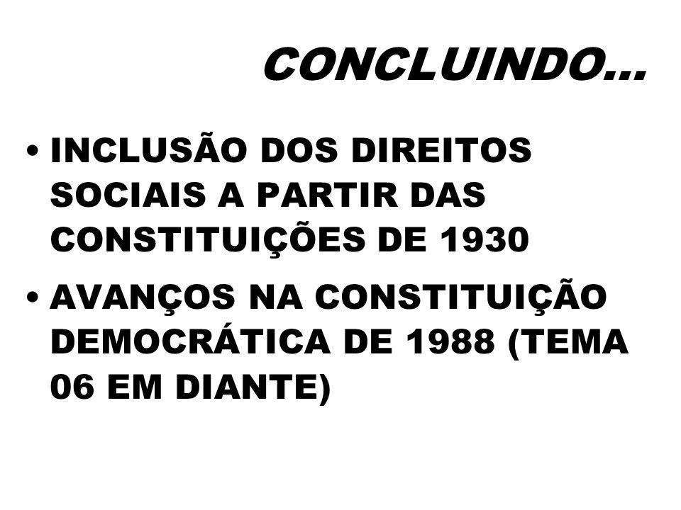 CONCLUINDO… INCLUSÃO DOS DIREITOS SOCIAIS A PARTIR DAS CONSTITUIÇÕES DE 1930 AVANÇOS NA CONSTITUIÇÃO DEMOCRÁTICA DE 1988 (TEMA 06 EM DIANTE)