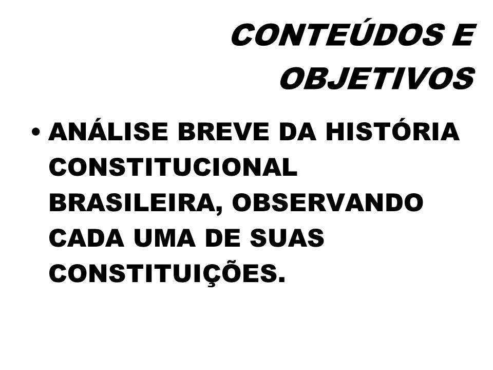 HISTÓRIA CONSTITUCIONAL BRASILEIRA GRANDE ROTATIVIDADE– 8 CONSTITUIÇÕES EM MENOS DE 200 ANOS BAIXA DENSIDADE DEMOCRÁTICA – METADE OUTORGADA