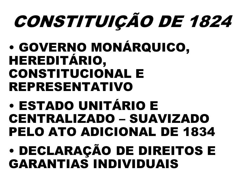 CONSTITUIÇÃO DE 1824 GOVERNO MONÁRQUICO, HEREDITÁRIO, CONSTITUCIONAL E REPRESENTATIVO ESTADO UNITÁRIO E CENTRALIZADO – SUAVIZADO PELO ATO ADICIONAL DE