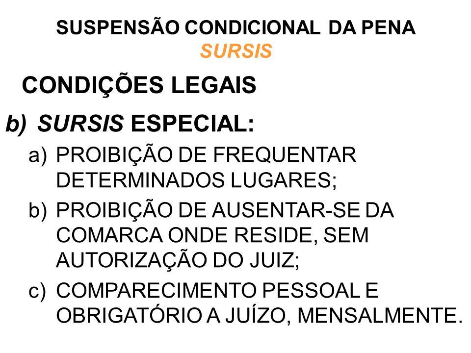 CONDIÇÕES LEGAIS b)SURSIS ESPECIAL: a)PROIBIÇÃO DE FREQUENTAR DETERMINADOS LUGARES; b)PROIBIÇÃO DE AUSENTAR-SE DA COMARCA ONDE RESIDE, SEM AUTORIZAÇÃO