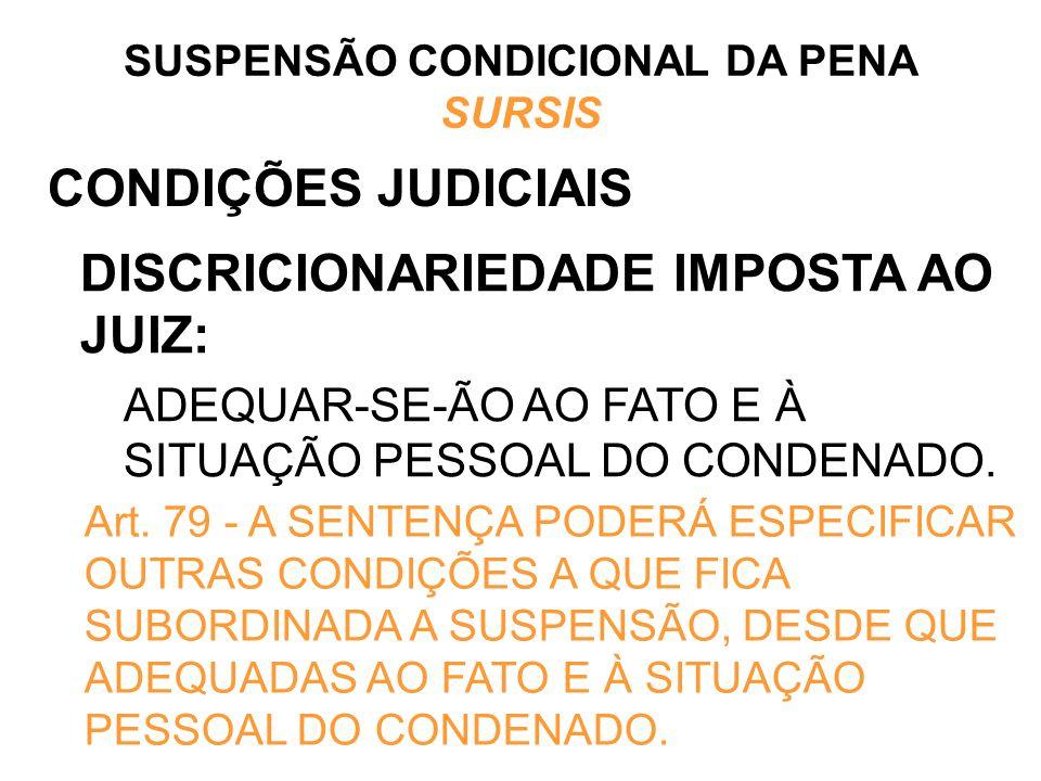 CONDIÇÕES JUDICIAIS DISCRICIONARIEDADE IMPOSTA AO JUIZ: ADEQUAR-SE-ÃO AO FATO E À SITUAÇÃO PESSOAL DO CONDENADO. SUSPENSÃO CONDICIONAL DA PENA SURSIS