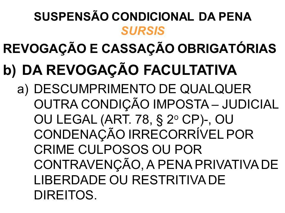 REVOGAÇÃO E CASSAÇÃO OBRIGATÓRIAS b)DA REVOGAÇÃO FACULTATIVA a)DESCUMPRIMENTO DE QUALQUER OUTRA CONDIÇÃO IMPOSTA – JUDICIAL OU LEGAL (ART. 78, § 2 o C