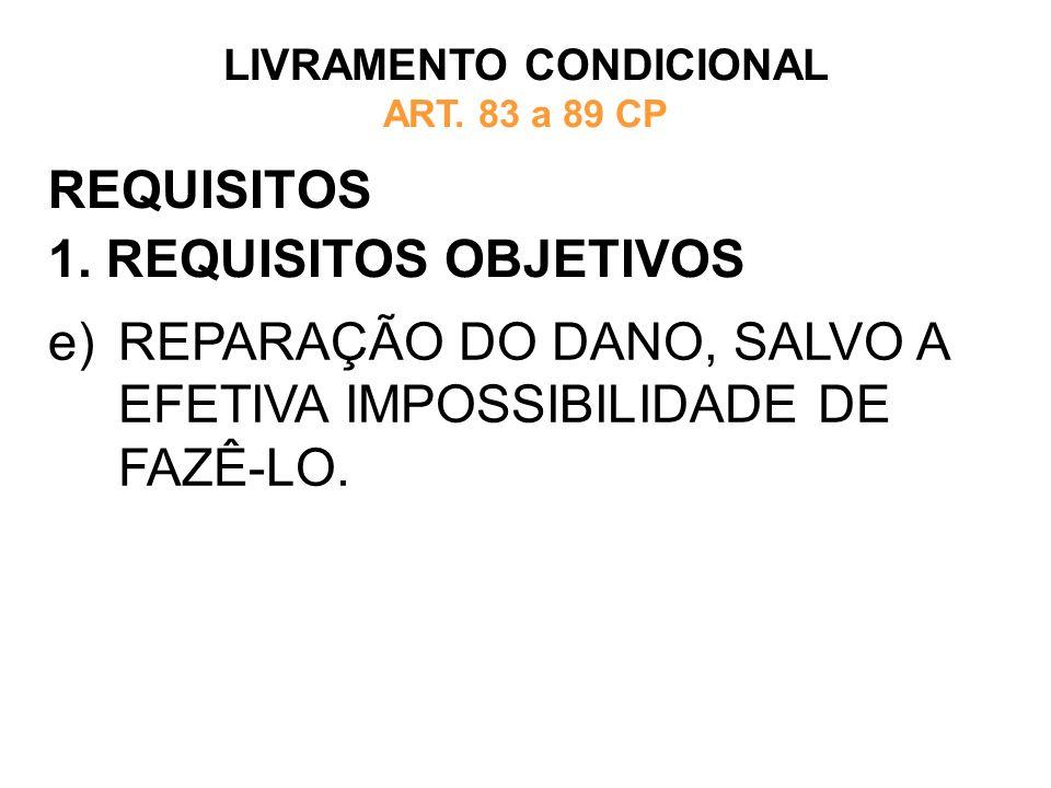 REQUISITOS 1. REQUISITOS OBJETIVOS LIVRAMENTO CONDICIONAL ART. 83 a 89 CP e)REPARAÇÃO DO DANO, SALVO A EFETIVA IMPOSSIBILIDADE DE FAZÊ-LO.