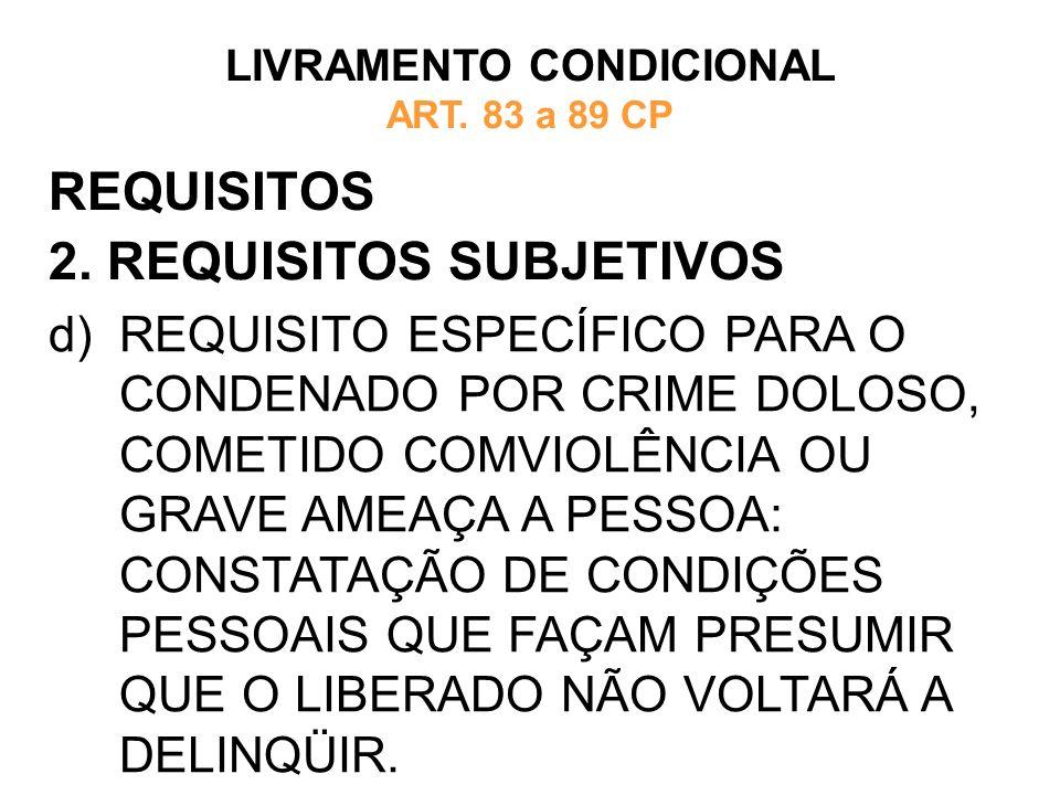 REQUISITOS 2. REQUISITOS SUBJETIVOS LIVRAMENTO CONDICIONAL ART. 83 a 89 CP d)REQUISITO ESPECÍFICO PARA O CONDENADO POR CRIME DOLOSO, COMETIDO COMVIOLÊ