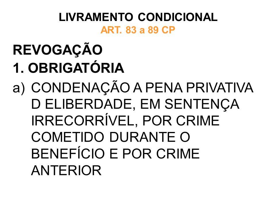 REVOGAÇÃO 1. OBRIGATÓRIA LIVRAMENTO CONDICIONAL ART. 83 a 89 CP a)CONDENAÇÃO A PENA PRIVATIVA D ELIBERDADE, EM SENTENÇA IRRECORRÍVEL, POR CRIME COMETI