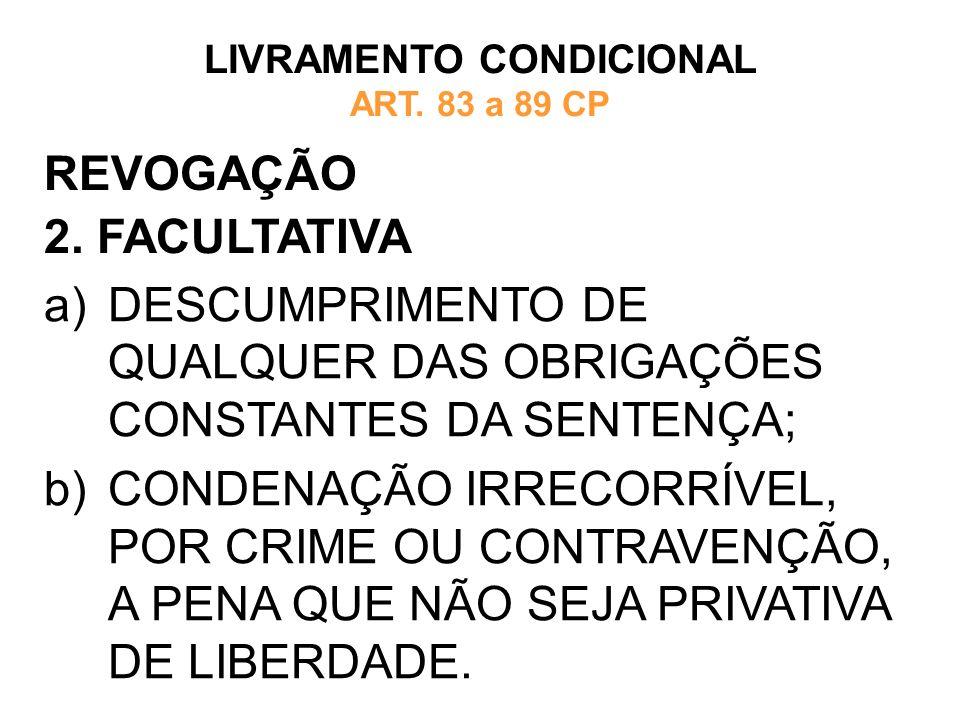 REVOGAÇÃO 2. FACULTATIVA LIVRAMENTO CONDICIONAL ART. 83 a 89 CP a)DESCUMPRIMENTO DE QUALQUER DAS OBRIGAÇÕES CONSTANTES DA SENTENÇA; b)CONDENAÇÃO IRREC