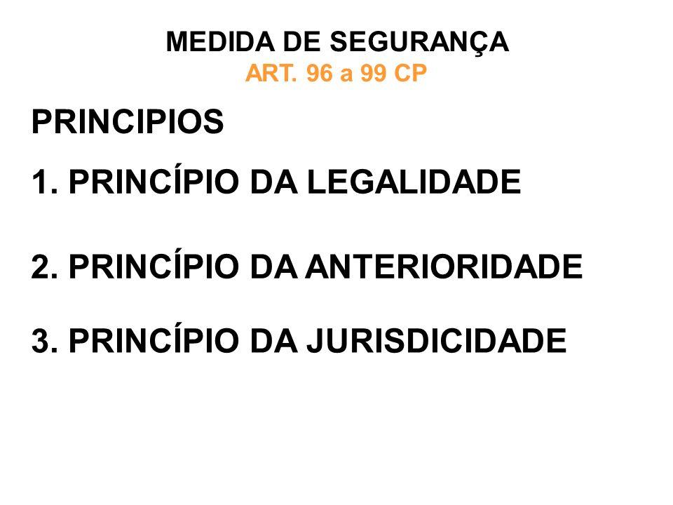 PRINCIPIOS 1. PRINCÍPIO DA LEGALIDADE MEDIDA DE SEGURANÇA ART. 96 a 99 CP 2. PRINCÍPIO DA ANTERIORIDADE 3. PRINCÍPIO DA JURISDICIDADE