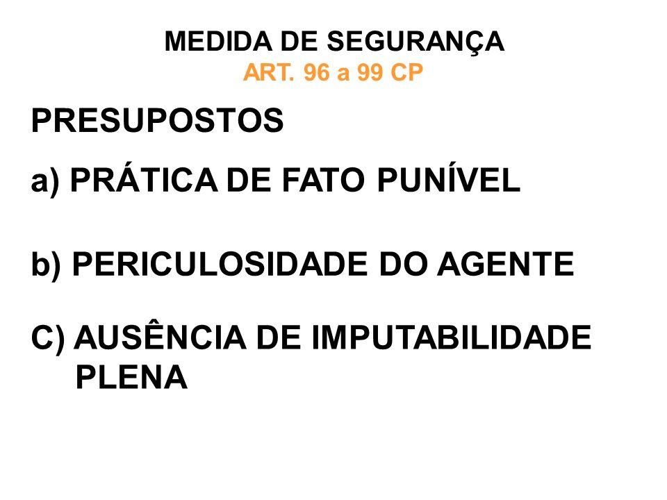 PRESUPOSTOS a) PRÁTICA DE FATO PUNÍVEL MEDIDA DE SEGURANÇA ART. 96 a 99 CP b) PERICULOSIDADE DO AGENTE C) AUSÊNCIA DE IMPUTABILIDADE PLENA