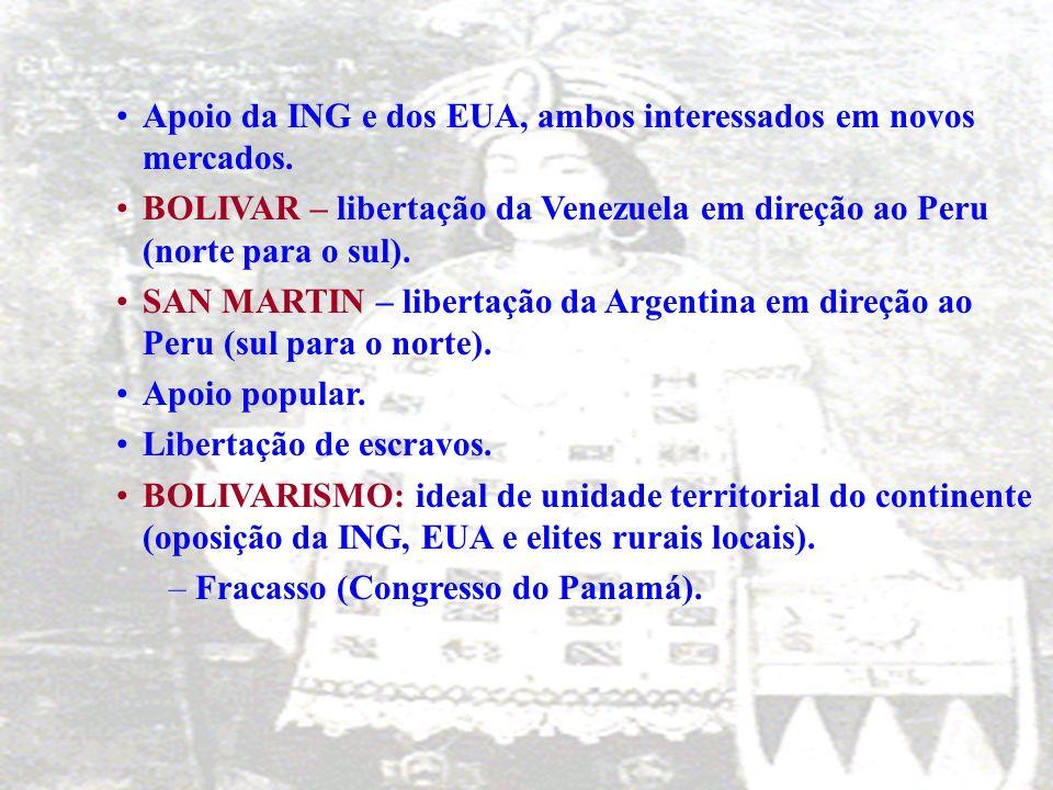–1817 – 1825: lutas vitoriosas. SIMÓN BOLÍVAR (republicano) e SAN MARTIN (monarquista) – principais líderes. BOLÍVARSAN MARTIN