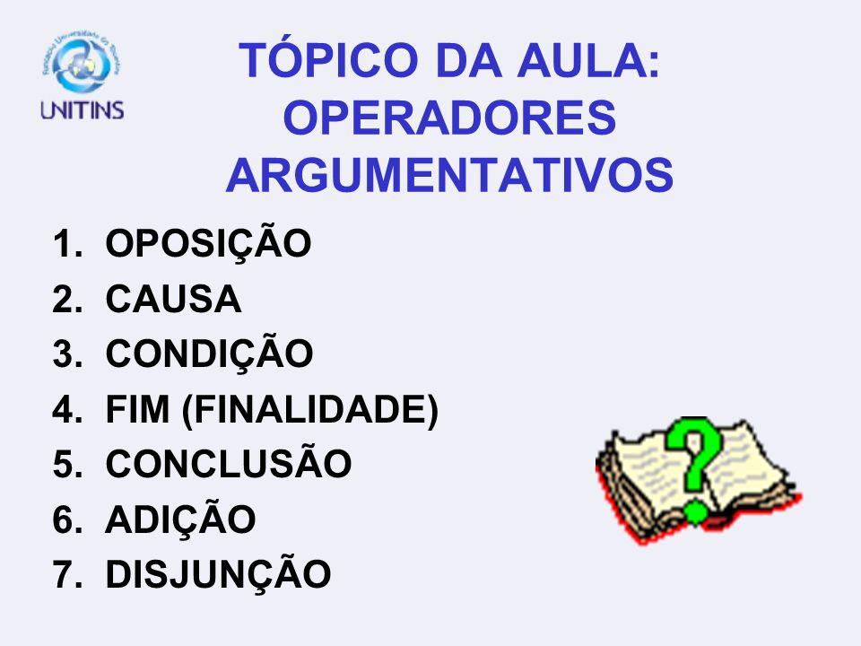 PROFA. MARISTELA DE SOUZA BORBA WEB-TUTORA: MAÍRA BOGO BRUNO AULA 7 TEMA 03: OPERADORES ARGUMENTATIVOS DATA: 09-03-2006