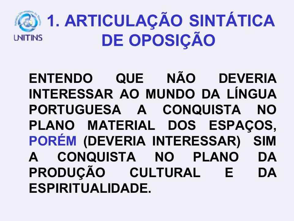 ARTICULADORES DE OPOSIÇÃO MAS, PORÉM, CONTUDO, TODAVIA, ENTRETANTO, NO ENTANTO.