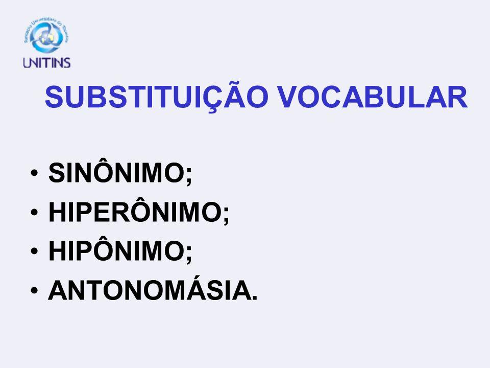 SUBSTITUIÇÃO VOCABULAR SINÔNIMO; HIPERÔNIMO; HIPÔNIMO; ANTONOMÁSIA.