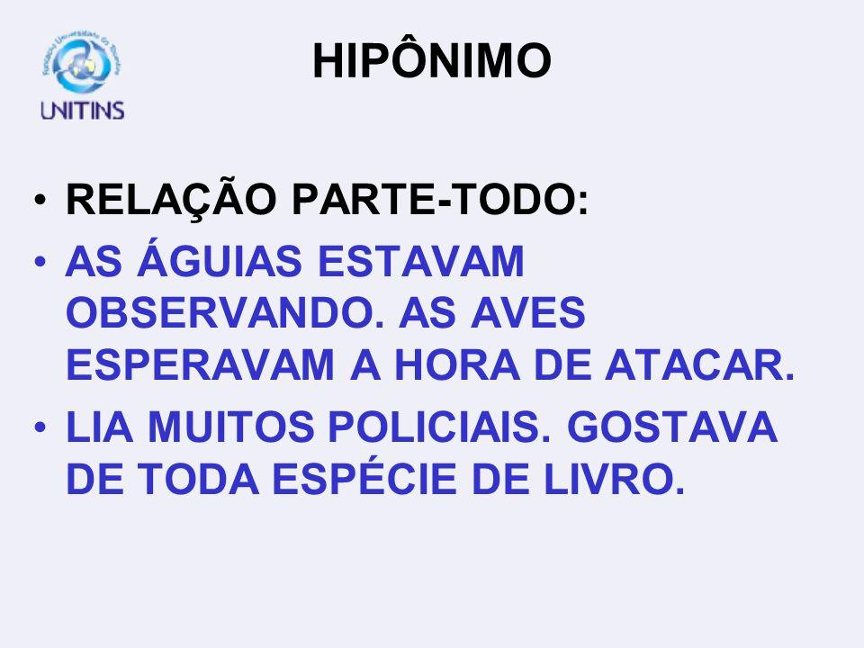 HIPÔNIMO RELAÇÃO PARTE-TODO: AS ÁGUIAS ESTAVAM OBSERVANDO. AS AVES ESPERAVAM A HORA DE ATACAR. LIA MUITOS POLICIAIS. GOSTAVA DE TODA ESPÉCIE DE LIVRO.