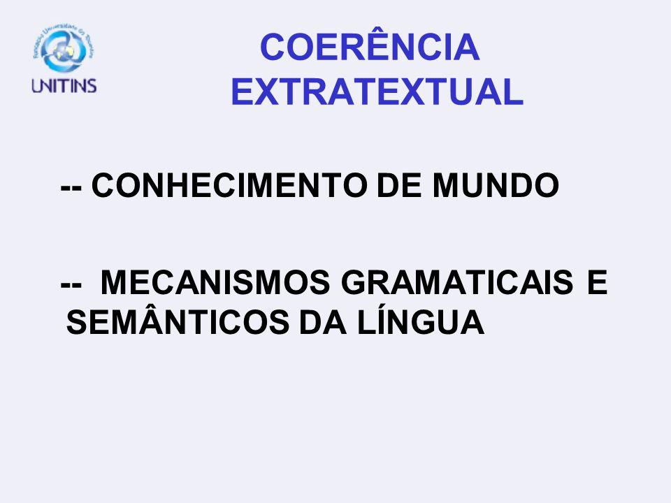 COERÊNCIA EXTRATEXTUAL -- CONHECIMENTO DE MUNDO -- MECANISMOS GRAMATICAIS E SEMÂNTICOS DA LÍNGUA