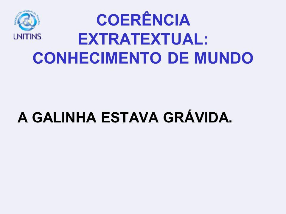 COERÊNCIA EXTRATEXTUAL: CONHECIMENTO DE MUNDO A GALINHA ESTAVA GRÁVIDA.