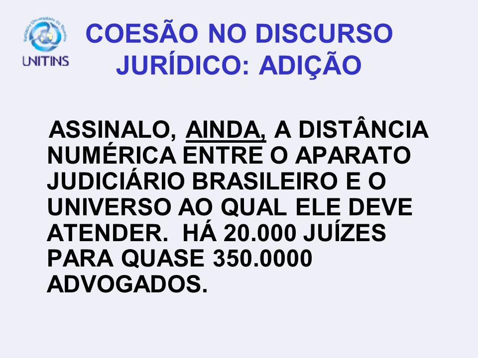 COESÃO NO DISCURSO JURÍDICO: ADIÇÃO ASSINALO, AINDA, A DISTÂNCIA NUMÉRICA ENTRE O APARATO JUDICIÁRIO BRASILEIRO E O UNIVERSO AO QUAL ELE DEVE ATENDER.