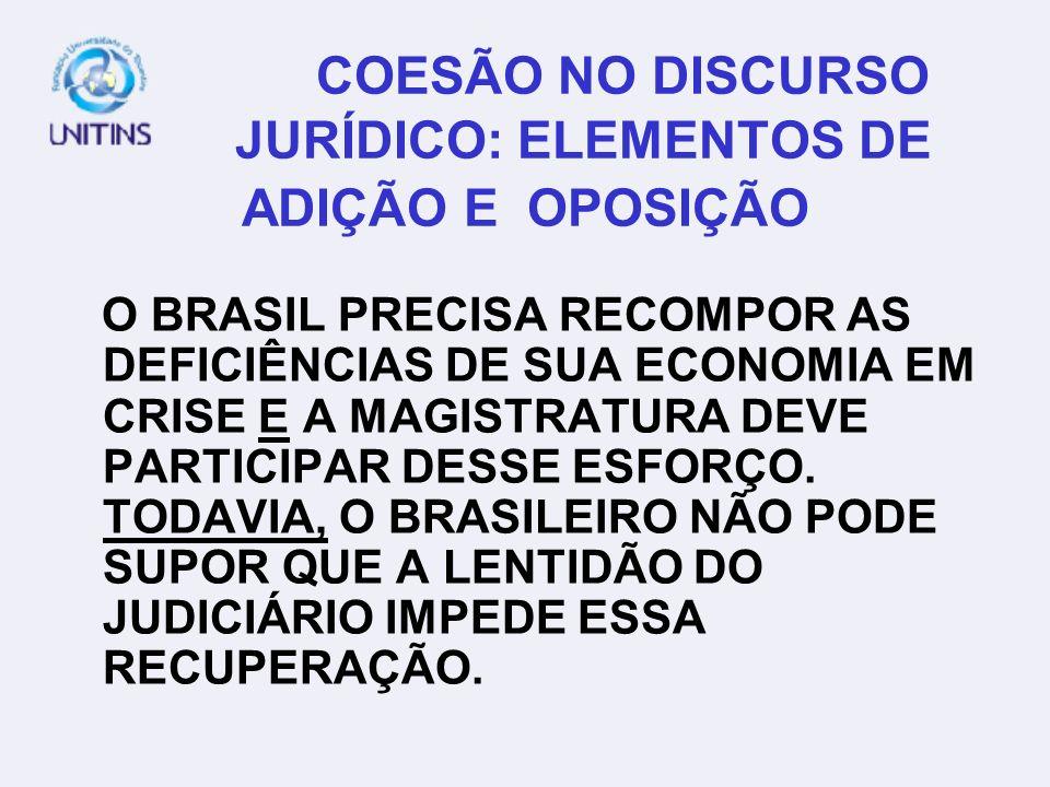 COESÃO NO DISCURSO JURÍDICO: ELEMENTOS DE ADIÇÃO E OPOSIÇÃO O BRASIL PRECISA RECOMPOR AS DEFICIÊNCIAS DE SUA ECONOMIA EM CRISE E A MAGISTRATURA DEVE P
