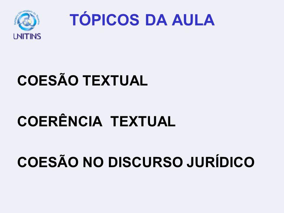 TÓPICOS DA AULA COESÃO TEXTUAL COERÊNCIA TEXTUAL COESÃO NO DISCURSO JURÍDICO