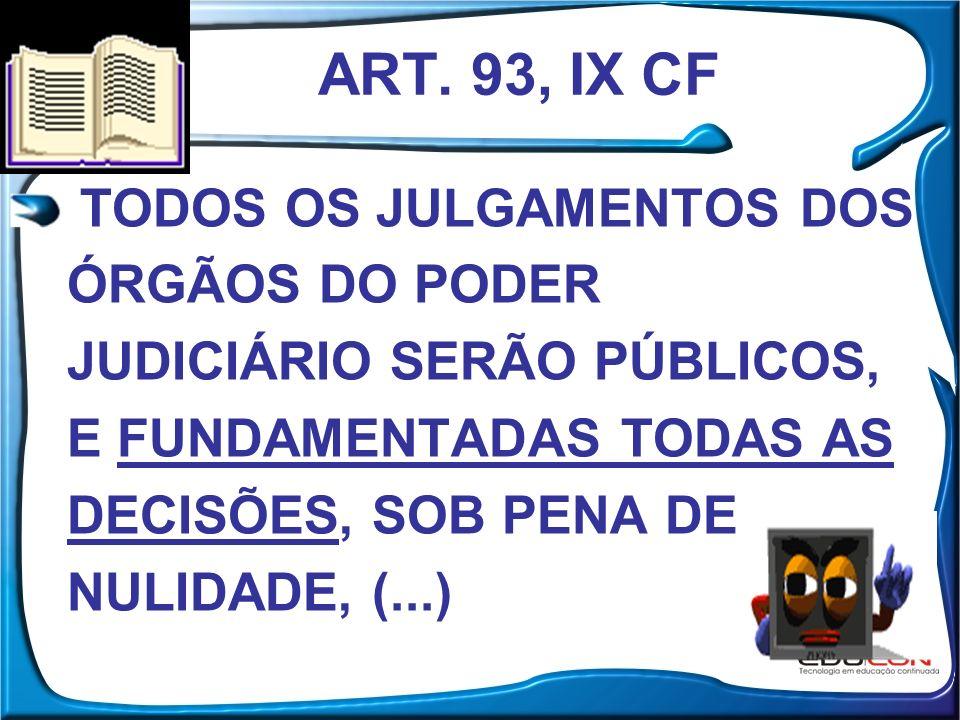 ART. 93, IX CF TODOS OS JULGAMENTOS DOS ÓRGÃOS DO PODER JUDICIÁRIO SERÃO PÚBLICOS, E FUNDAMENTADAS TODAS AS DECISÕES, SOB PENA DE NULIDADE, (...)