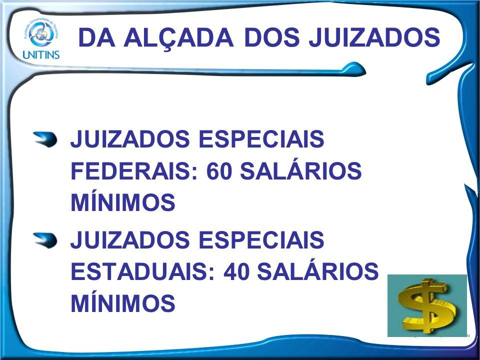 DA ALÇADA DOS JUIZADOS JUIZADOS ESPECIAIS FEDERAIS: 60 SALÁRIOS MÍNIMOS JUIZADOS ESPECIAIS ESTADUAIS: 40 SALÁRIOS MÍNIMOS