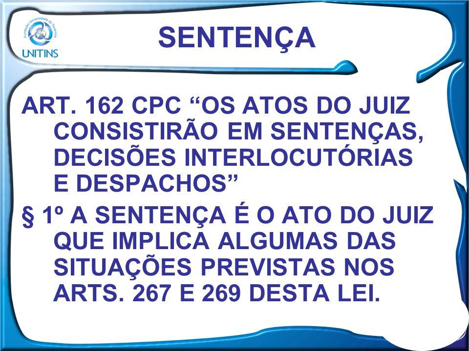 ART.267. EXTINGUE-SE O PROCESSO, SEM RESOLUÇÃO DE MÉRITO: (...) ART.