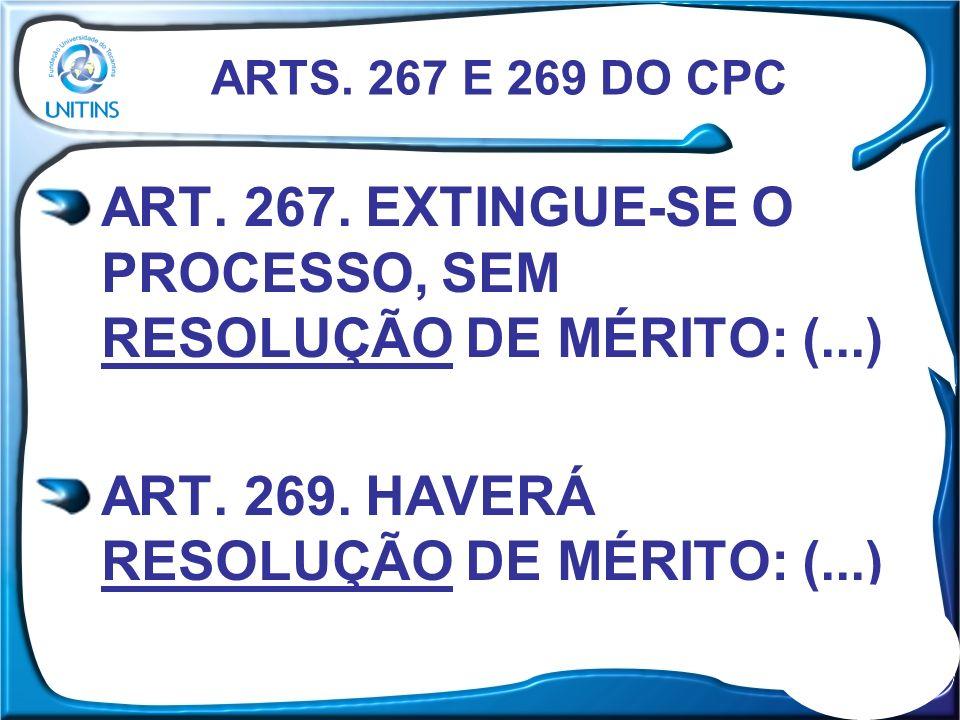 ART. 267. EXTINGUE-SE O PROCESSO, SEM RESOLUÇÃO DE MÉRITO: (...) ART. 269. HAVERÁ RESOLUÇÃO DE MÉRITO: (...) ARTS. 267 E 269 DO CPC