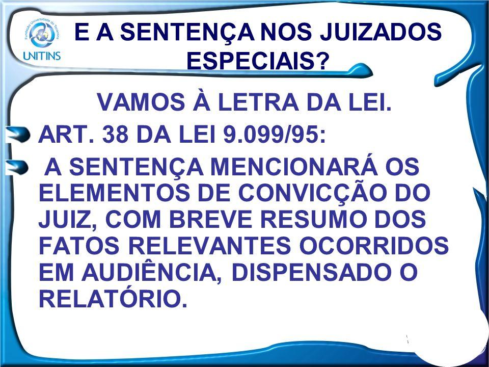 VAMOS À LETRA DA LEI. ART. 38 DA LEI 9.099/95: A SENTENÇA MENCIONARÁ OS ELEMENTOS DE CONVICÇÃO DO JUIZ, COM BREVE RESUMO DOS FATOS RELEVANTES OCORRIDO