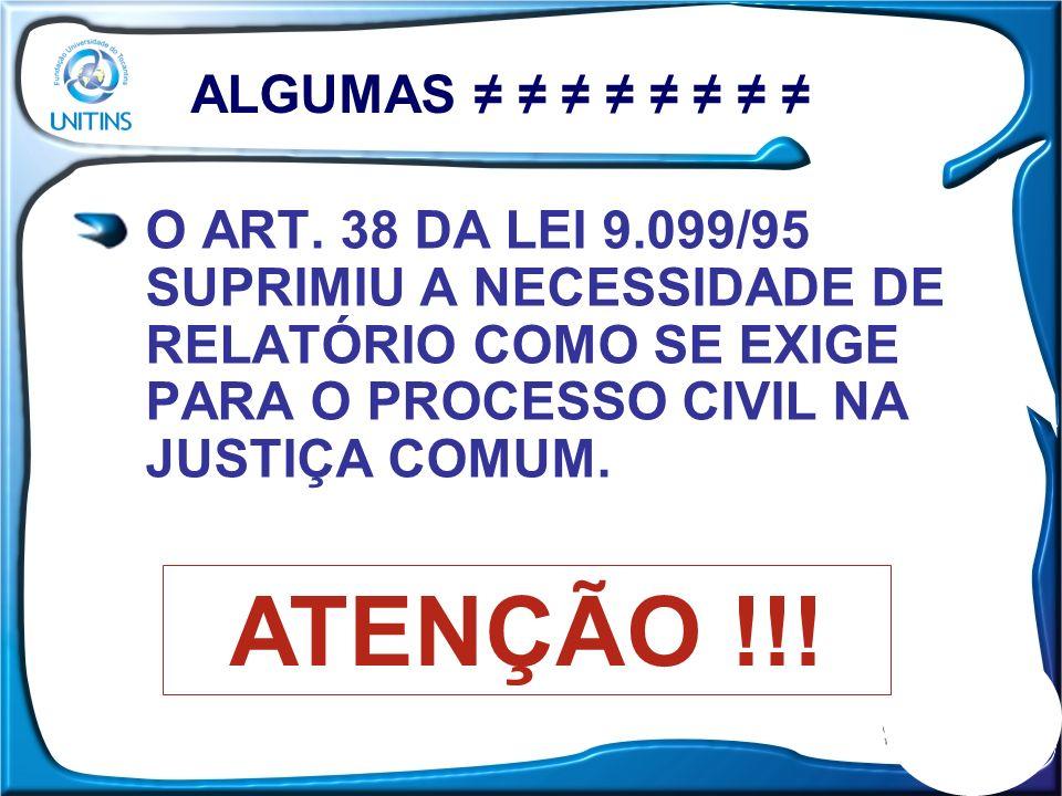 O ART. 38 DA LEI 9.099/95 SUPRIMIU A NECESSIDADE DE RELATÓRIO COMO SE EXIGE PARA O PROCESSO CIVIL NA JUSTIÇA COMUM. ALGUMAS ATENÇÃO !!!