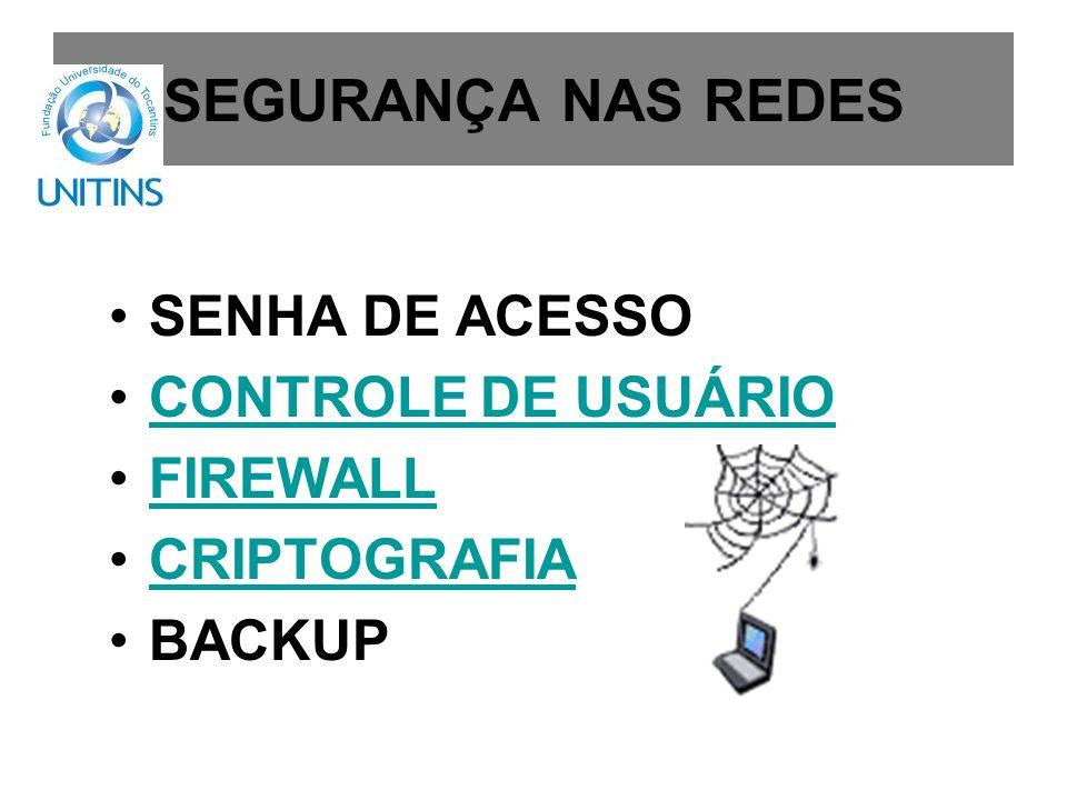 SEGURANÇA NAS REDES SENHA DE ACESSO CONTROLE DE USUÁRIO FIREWALL CRIPTOGRAFIA BACKUP