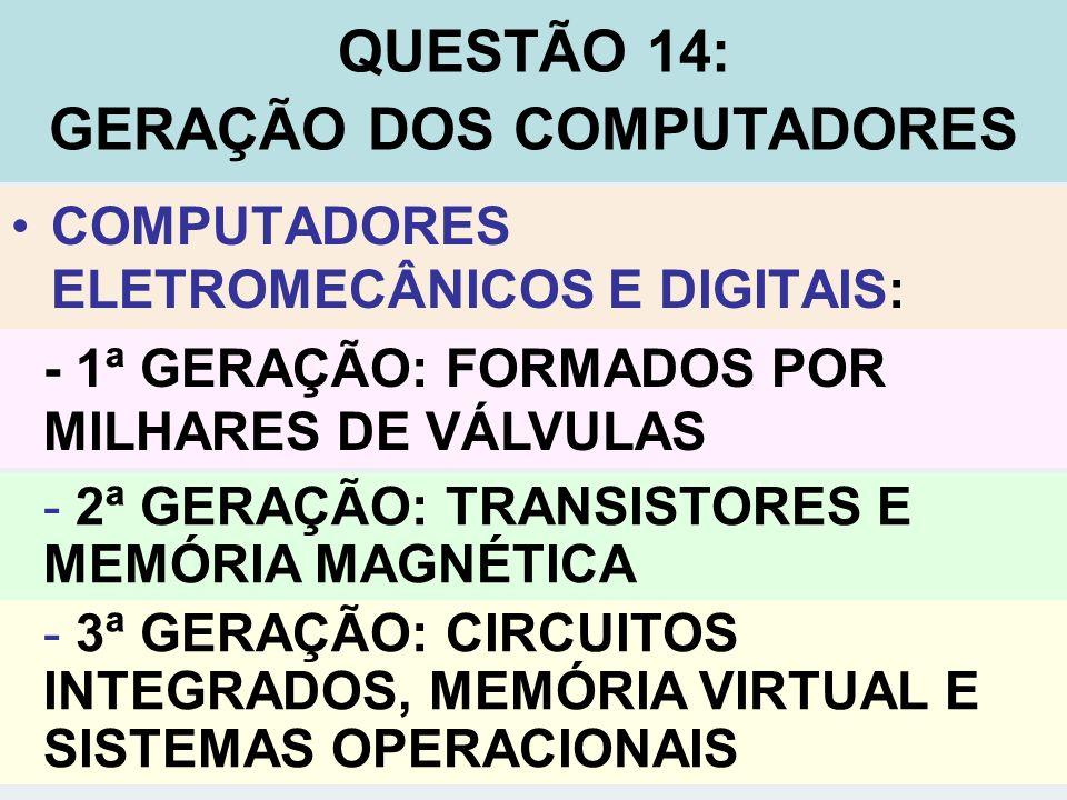 COMPUTADORES ELETROMECÂNICOS E DIGITAIS: QUESTÃO 14: GERAÇÃO DOS COMPUTADORES - 3ª GERAÇÃO: CIRCUITOS INTEGRADOS, MEMÓRIA VIRTUAL E SISTEMAS OPERACION